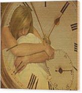 Girl In White Dress In Pocket Watch Wood Print