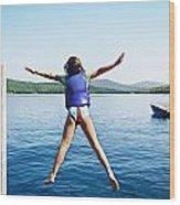Girl Jumps In The Lake Wood Print