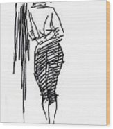 Girl Leaning Against Wall Wood Print