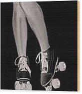 Girl Legs In Roller Skates Artistic Concept Wood Print