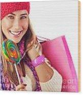 Girl Lick Sweets And Holding Pink Bag Wood Print