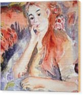 Girl Lounging  After Renoir Wood Print