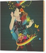 Girl Making Soap Bubbles,rainbow And Wood Print
