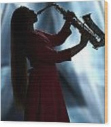 Girl Musician Playing Saxophone In Silhouette Color 3353.02 Wood Print