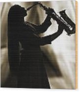 Girl Musician Playing Saxophone In Silhouette Sepia 3353.01 Wood Print