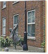 Girl On A Lamp Post Wood Print