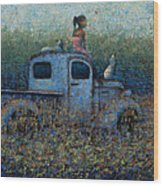 Girl On A Truck Wood Print by Ned Shuchter