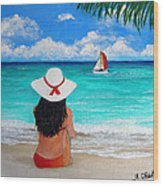 Girl On A Turquoise Beach Wood Print