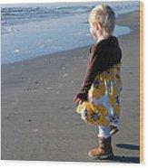 Girl On Beach Wood Print