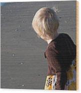 Girl On Beach II Wood Print