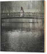 Girl On Bridge Wood Print
