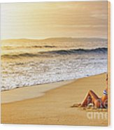 Girl On Seashore  Wood Print