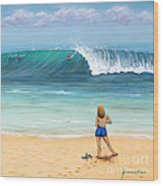 Girl On Surfer Beach Wood Print