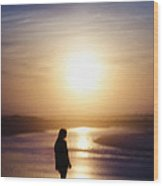 Girl On The Beach At Sunrise Wood Print
