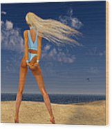 Girl On The Beach... Wood Print