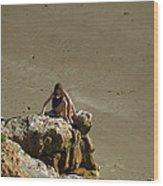Girl On The Rocks - Compton Bay Wood Print