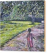 Girl On Trail Wood Print by Linda Vaughon