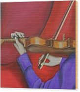 Girl On Violin Wood Print