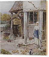 Girl Outside A Cottage Wood Print