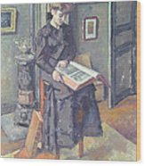 Girl Reading A Book Wood Print