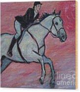 Girl Riding Her Horse I Wood Print