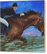 Girl Riding Her Horse II Wood Print