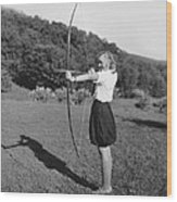 Girl Scout With Bow And Arrow Wood Print