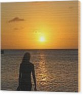 Girl Silhouetted On A Beach At Sunset Wood Print