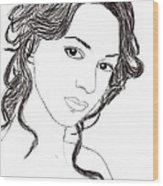 Girl Sketch Wood Print