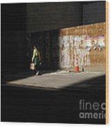 Girl Walking Into Shadow - New York City Street Scene Wood Print