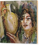 Girl With A Jug. Wood Print