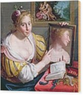 Girl With A Mirror, An Allegory Wood Print