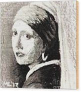 Girl With A Pearl Earring By Jan Vermeer Van Delft Wood Print