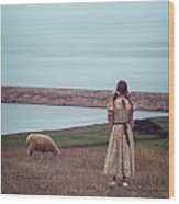 Girl With A Sheep Wood Print by Joana Kruse