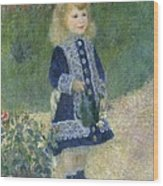 Girl With A Watering Can Wood Print