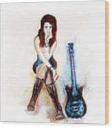 Girl With Blue Guitar Wood Print