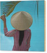 Girl With Conical Hat, Nha Trang Wood Print