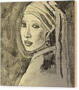Girl With Earring Wood Print