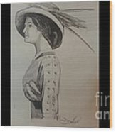 Girl With Feathered Hat Wood Print