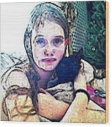 Girl With Her Black Cat Wood Print