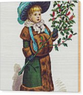 Girl With Holly Wood Print