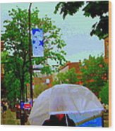 Girl With Large Umbrella Its Raining Its Pouring April Showers Montreal Scenes Carole Spandau Art Wood Print