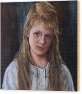 Girl With Long Brown Hair Wood Print