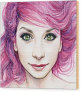 Girl With Magenta Hair Wood Print
