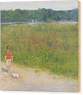 Girl Walking Dog Wood Print