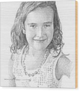 Girl With Necklace Pencil Portrait Wood Print