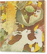 Girl With Rabbits Wood Print