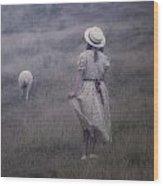 Girl With Sheeps Wood Print by Joana Kruse