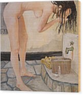 Girl With The Golden Towel Wood Print