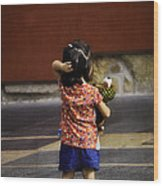 Girl With Toy Dog Wood Print by Mary Machare